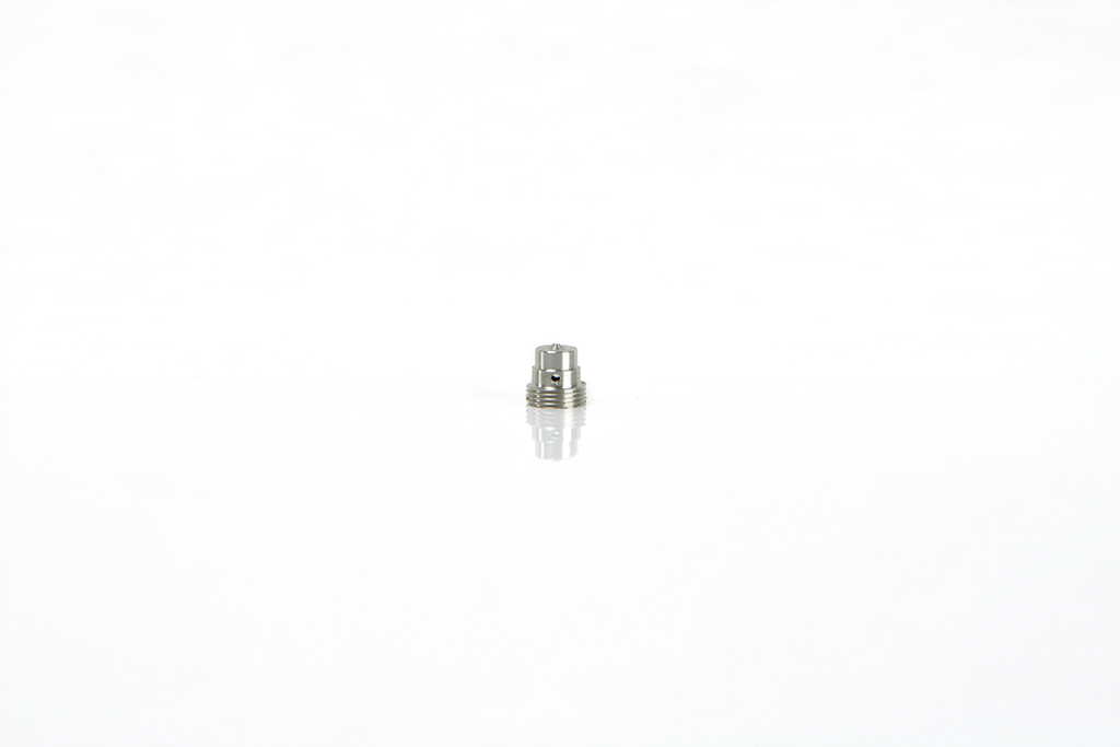 special machined screw on drawing in stainless steel, milled, threaded, with axial and radial holes