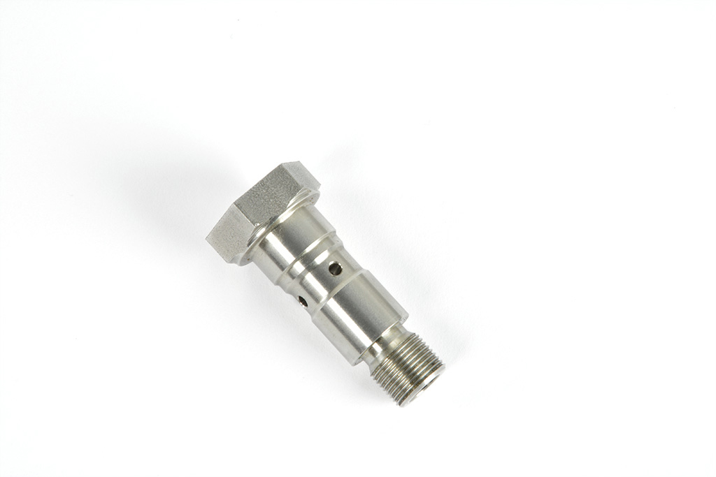 special stainless steel screw with radial and axial holes with metric male and female thread